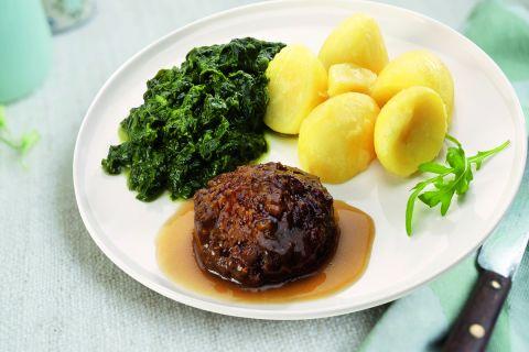 Gehaktbal (100% rundvlees) in jus met bladspinazie en gekookte aardappelen (kleine maaltijd)