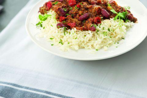 Chileense chili con carne met rundergehakt en rijst