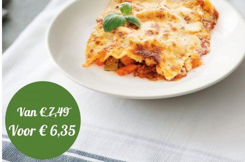 Vegetarische lasagne met linzen en quorn