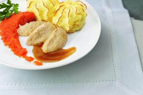 Kip met wortelen en knolselderijpuree (gemalen)