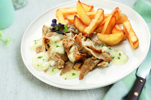 Kebab van kip/kalkoen met knoflooksaus en patat
