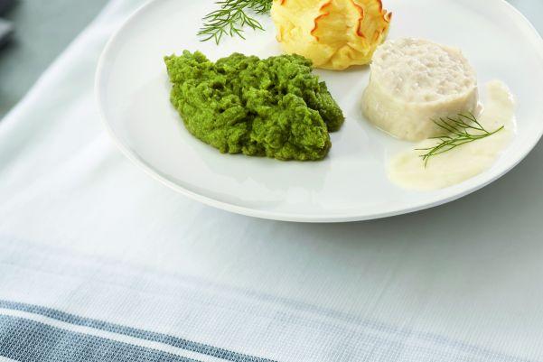 Koolvis in romige saus met broccoli en aardappelpuree (gemalen)