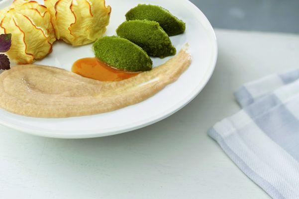 Kip met sperzieboontjes en aardappelpuree (gemalen)