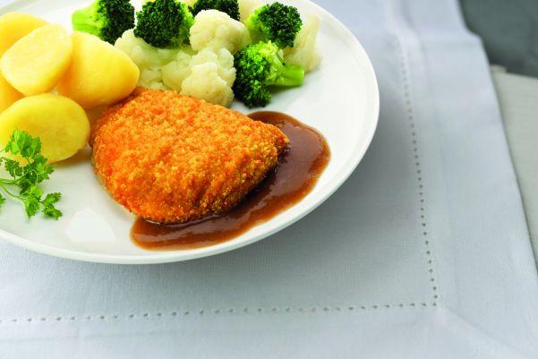 Kip cordon bleu met bloemkool- en broccoliroosjes en gekookte aardappelen