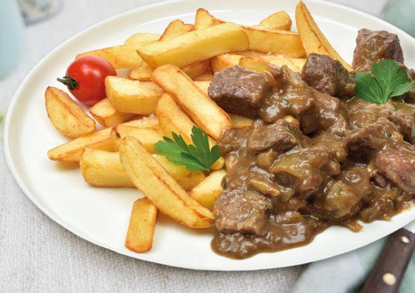 Ovenfriet met stoofvlees
