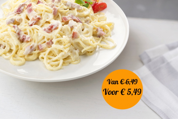 Spaghetti carbonara met ham, kaas en room