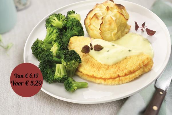 Omelet in Hollandaisesaus met broccoli en aardappelpuree