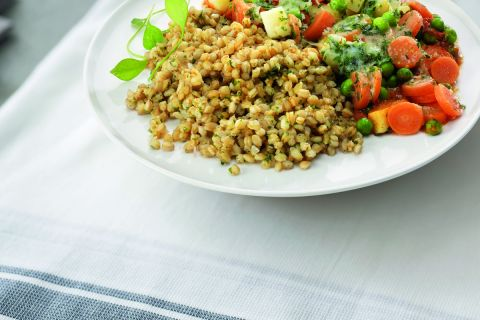 Spelt risotto met groentenmix (op=op)