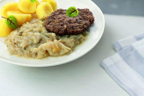 Runderhamburger in jus met witlof en gekookte aardappelen